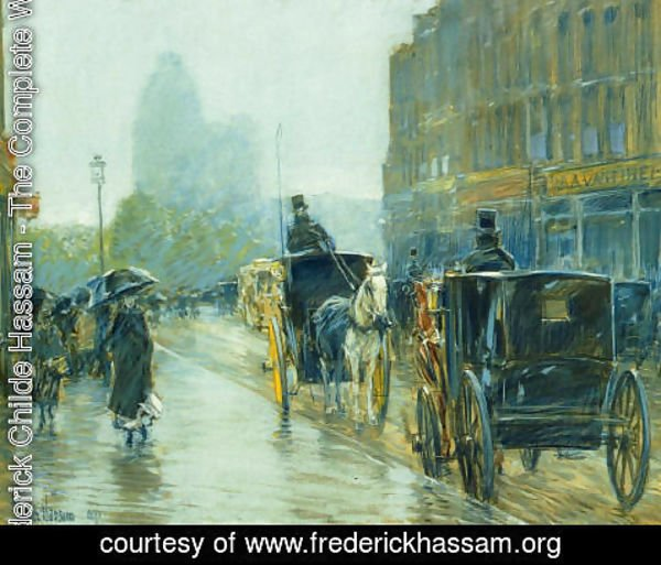 Frederick Childe Hassam - Horse-Drawn Cabs at Evening, New York