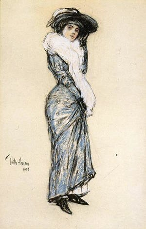 Frederick Childe Hassam - Portrait of a Lady in Blue Dress