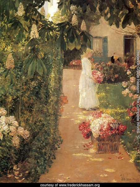 Gathering Flowers in a French Garden