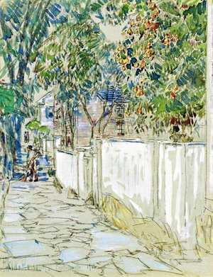 Frederick Childe Hassam - Flagstone Sidewalk, Portsmouth, New Hampshire