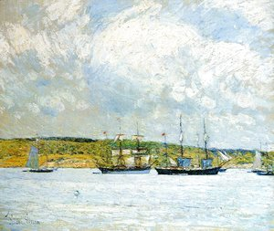 Frederick Childe Hassam - A Parade of Boats