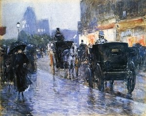Frederick Childe Hassam - Horse Drawn Cabs at Evening, New York 2