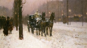 Frederick Childe Hassam - Street Scene with Hansom Cab