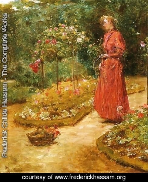 Frederick Childe Hassam - Woman Cutting Roses in a Garden