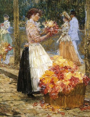 Frederick Childe Hassam - Woman Sellillng Flowers