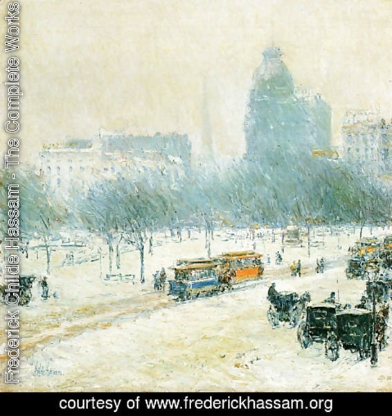 Frederick Childe Hassam - Winter in Union Square