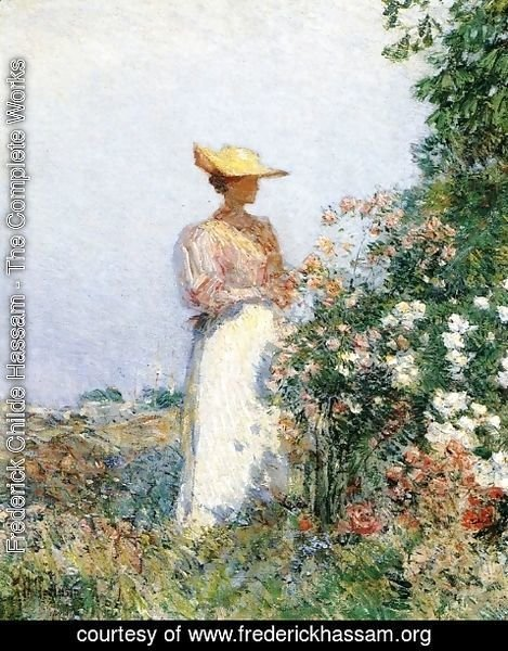 Frederick Childe Hassam - Lady in Flower Garden