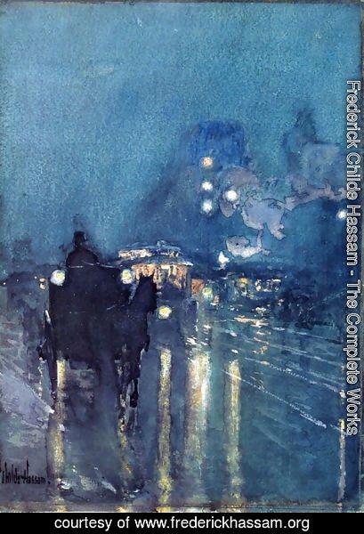 Frederick Childe Hassam   Nocturne, Railway Crossing, Chicago