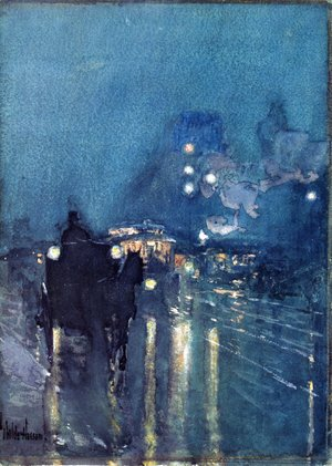 Frederick Childe Hassam - Nocturne, Railway Crossing, Chicago