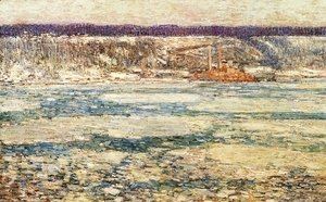 Frederick Childe Hassam - Ice on the Hudson