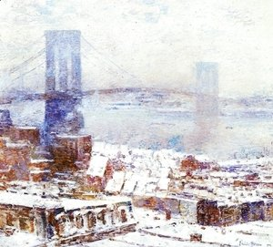 Frederick Childe Hassam - Brooklyn Bridge in Winter