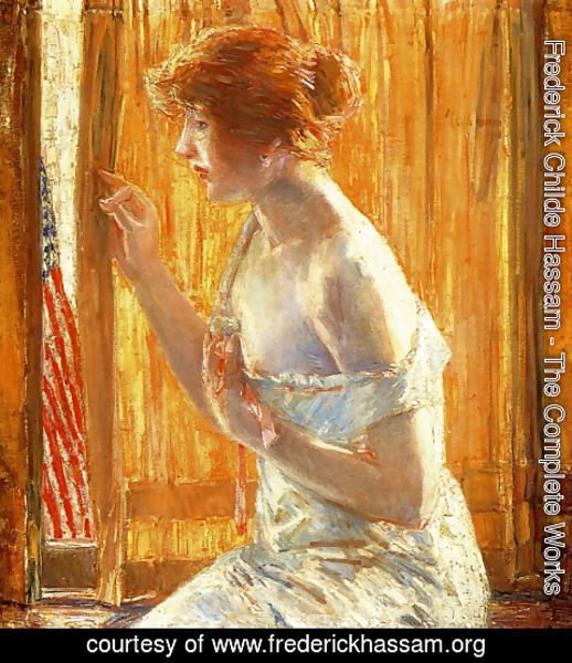 Frederick Childe Hassam - The Flag Outside Her Window, April 1918