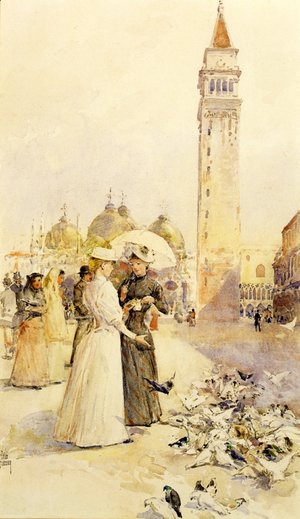 Frederick Childe Hassam - Feeding Pigeons in the Piazza