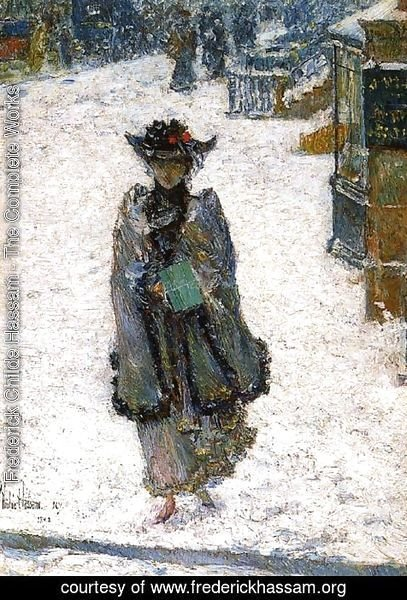 Frederick Childe Hassam - Street Scene, Christmas Morning