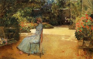 Frederick Childe Hassam - The Artist's Wife in a Garden, Villiers-le-Bel