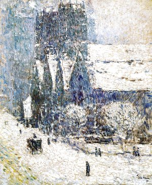 Frederick Childe Hassam - Calvary Church in the Snow