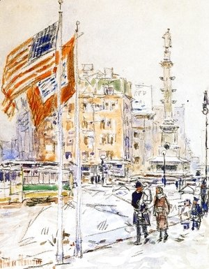 Frederick Childe Hassam - Flags, Columbus Circle