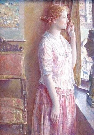Frederick Childe Hassam - Easter Morning Portrait at a New York Window