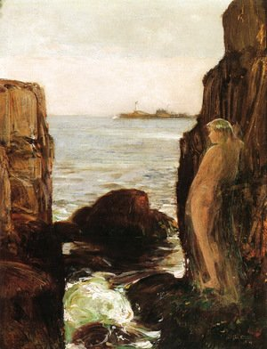 Frederick Childe Hassam - Nymph on a Rocky Ledge