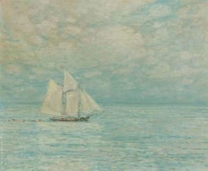 Frederick Childe Hassam - Sailing On Calm Seas, Gloucester Harbor
