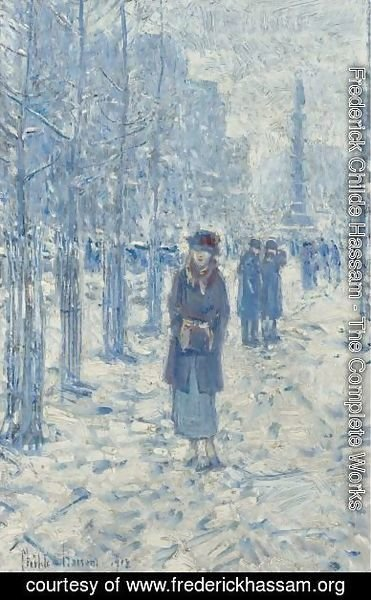 Frederick Childe Hassam - Kitty Walking In Snow