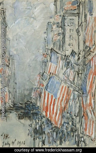 Frederick Childe Hassam - Flag Day, Fifth Avenue, July 4th 1916