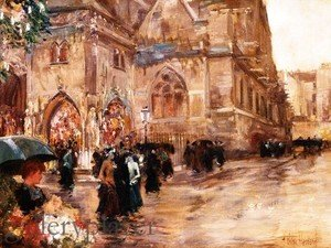 Frederick Childe Hassam - Church After Sunday Service