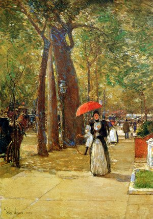Frederick Childe Hassam - Hassam Childe Fifth avenue at Washington square Sun