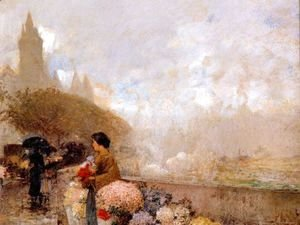 Frederick Childe Hassam - Flower girl by the Seine, Paris 2