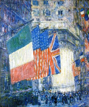 Frederick Childe Hassam - Avenue of the Allies (aka Flags on the Waldorf)